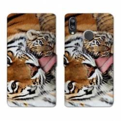 Housse cuir portefeuille Samsung Galaxy A20e bebe tigre