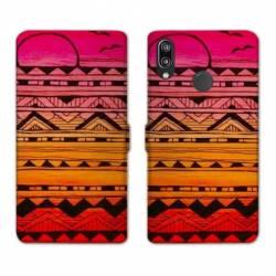 Housse cuir portefeuille Samsung Galaxy A20e motifs Aztec azteque soleil