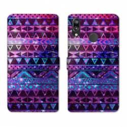 Housse cuir portefeuille Samsung Galaxy A20e motifs Aztec azteque violet