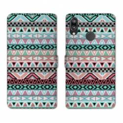 Housse cuir portefeuille Samsung Galaxy A20e motifs Aztec azteque turquoise