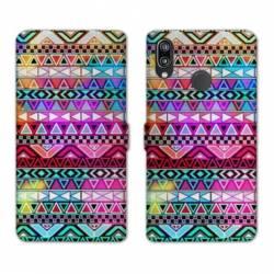 Housse cuir portefeuille Samsung Galaxy A20e motifs Aztec azteque rouge