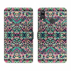 Housse cuir portefeuille Samsung Galaxy A20e motifs Aztec azteque rose
