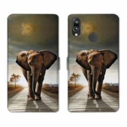 Housse cuir portefeuille Samsung Galaxy A20e savane Elephant route