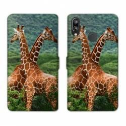 Housse cuir portefeuille Samsung Galaxy A20e savane Girafe Duo