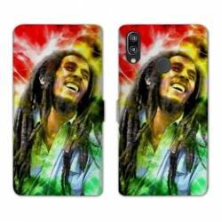 Housse cuir portefeuille Samsung Galaxy A20e Bob Marley Color