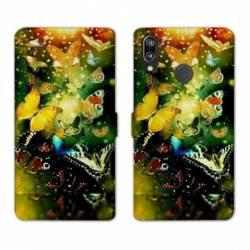 Housse cuir portefeuille Samsung Galaxy A20e papillons papillon jaune