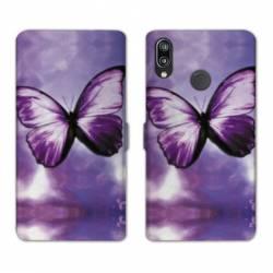 Housse cuir portefeuille Samsung Galaxy A20e papillons violet et blanc