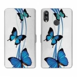 Housse cuir portefeuille Samsung Galaxy A20e papillons bleu
