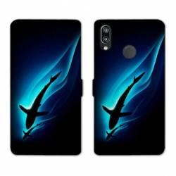 Housse cuir portefeuille Samsung Galaxy A20e Requin Noir