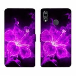 Housse cuir portefeuille Samsung Galaxy A20e fleur hibiscus violet