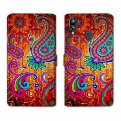 Housse cuir portefeuille Samsung Galaxy A20e fleur psychedelic