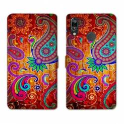 Housse cuir portefeuille Samsung Galaxy A20e fleur psychedelic