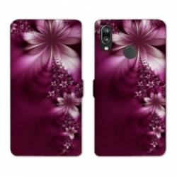 Housse cuir portefeuille Samsung Galaxy A20e fleur violette montante