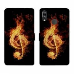 Housse cuir portefeuille Samsung Galaxy A20e Musique clé sol feu N