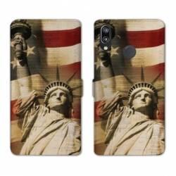 Housse cuir portefeuille Samsung Galaxy A20e Amerique USA Statue liberté