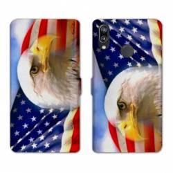 Housse cuir portefeuille Samsung Galaxy A20e Amerique USA Aigle