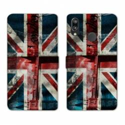 Housse cuir portefeuille Samsung Galaxy A20e Angleterre UK Jean's