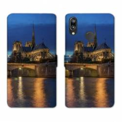 Housse cuir portefeuille Samsung Galaxy A20e France Notre Dame Paris night