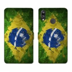 Housse cuir portefeuille Samsung Galaxy A20e Bresil texture