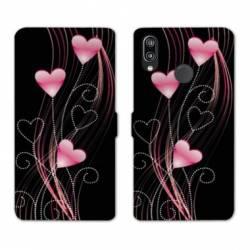 Housse cuir portefeuille Samsung Galaxy A20e Cœur rose Montant