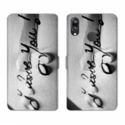 Housse cuir portefeuille Samsung Galaxy A20e I love you larme B
