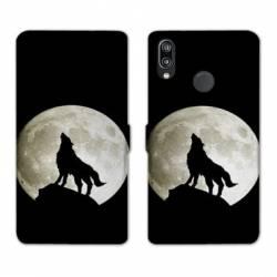 Housse cuir portefeuille Samsung Galaxy A20e Loup Noir