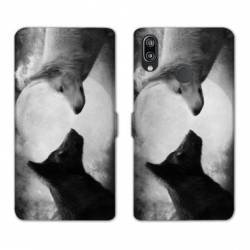 Housse cuir portefeuille Samsung Galaxy A20e Loup Duo