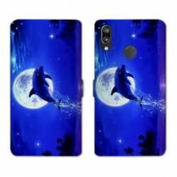 Housse cuir portefeuille Samsung Galaxy A20e Dauphin lune