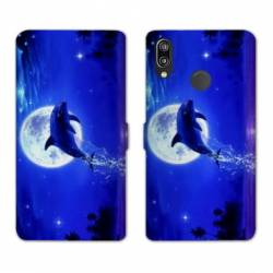 Housse cuir portefeuille Samsung Galaxy A20e Dauphin lune