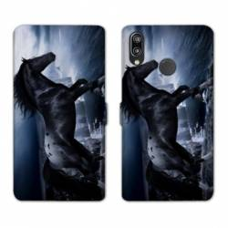 Housse cuir portefeuille Samsung Galaxy A20e Cheval