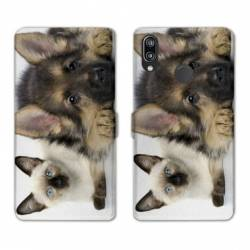 Housse cuir portefeuille Samsung Galaxy A20e Chien vs chat
