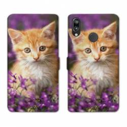 Housse cuir portefeuille Samsung Galaxy A20e Chat Violet