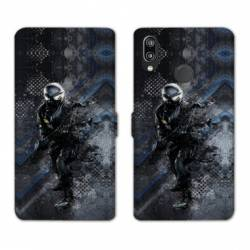 Housse cuir portefeuille Samsung Galaxy A20e police swat