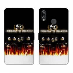 Housse cuir portefeuille Samsung Galaxy A20e pompier soldat