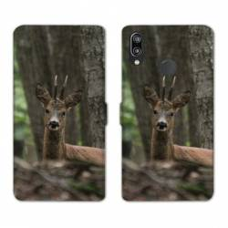 Housse cuir portefeuille Samsung Galaxy A20e chasse chevreuil Bois
