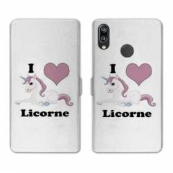 Housse cuir portefeuille Samsung Galaxy A20e Licorne I love FR