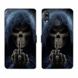 Housse cuir portefeuille Samsung Galaxy A20e tete de mort Doigt