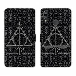 Housse cuir portefeuille Samsung Galaxy A20e WB License harry potter pattern triangle noir