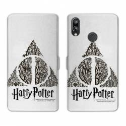 Housse cuir portefeuille Samsung Galaxy A20e WB License harry potter pattern triangle Blanc