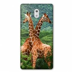 Coque Nokia 1 Plus savane Girafe Duo