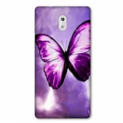 Coque Nokia 1 Plus papillons violet et blanc