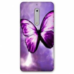 Coque Nokia 4.2 papillons violet et blanc