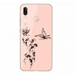 Coque transparente Samsung Galaxy A20e feminine envol fleur