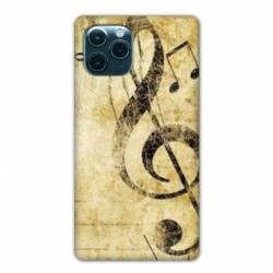 """Coque Iphone 11 Pro Max (6,5"""") Musique clé sol vintage"""