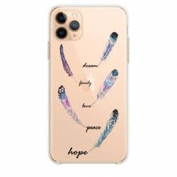 """Coque transparente Iphone 11 Pro (6,1"""") feminine plume couleur"""