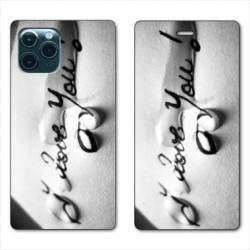 """RV Housse cuir portefeuille Iphone 11 (5,8"""") I love you larme B"""