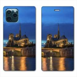 "RV Housse cuir portefeuille Iphone 11 (5,8"") France Notre Dame Paris night"