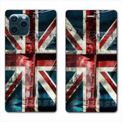 "RV Housse cuir portefeuille Iphone 11 (5,8"") Angleterre UK Jean's"