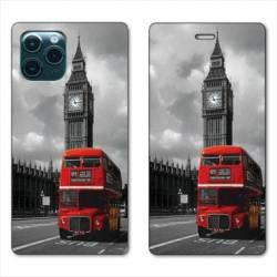 "RV Housse cuir portefeuille Iphone 11 (5,8"") Angleterre London Bus"