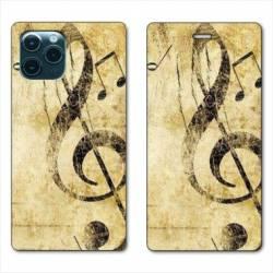 """RV Housse cuir portefeuille Iphone 11 (5,8"""") Musique clé sol vintage"""